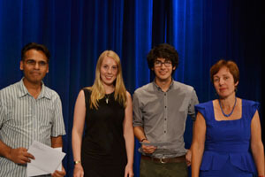 2013 Winners: Mohammed Shoaib (accepting on behalf of Alice Fodder and Bradley Jermy), Florence Mowlem and Alex Berry with Professor Jo Neill